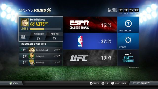Το Xbox LIVE «παίζει μπάλα» με το Sports Picks