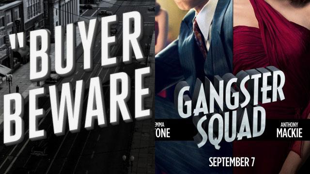 Δες τη γραμματοσειρά: αριστερά από μία αποστολή/υπόθεση του LA Noire, δεξιά από την αφίσα του Gangster Squad.