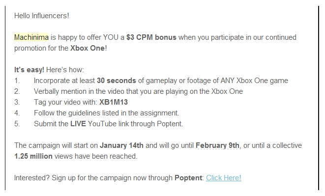 machinima-xbox-one-campain-offers-money-to-youtubers